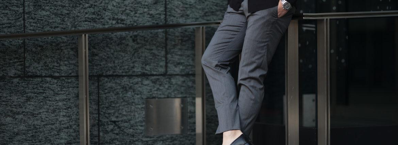 cuervo bopoha (クエルボ ヴァローナ) Sartoria Collection (サルトリア コレクション) Brad (ブラッド) Super 120's WASHABLE TROPICAL WOOL ウォッシャブル ストレッチ トロピカルウール サマーウール スラックス GRAY (グレー) MADE IN JAPAN (日本製) 2020 春夏のイメージ