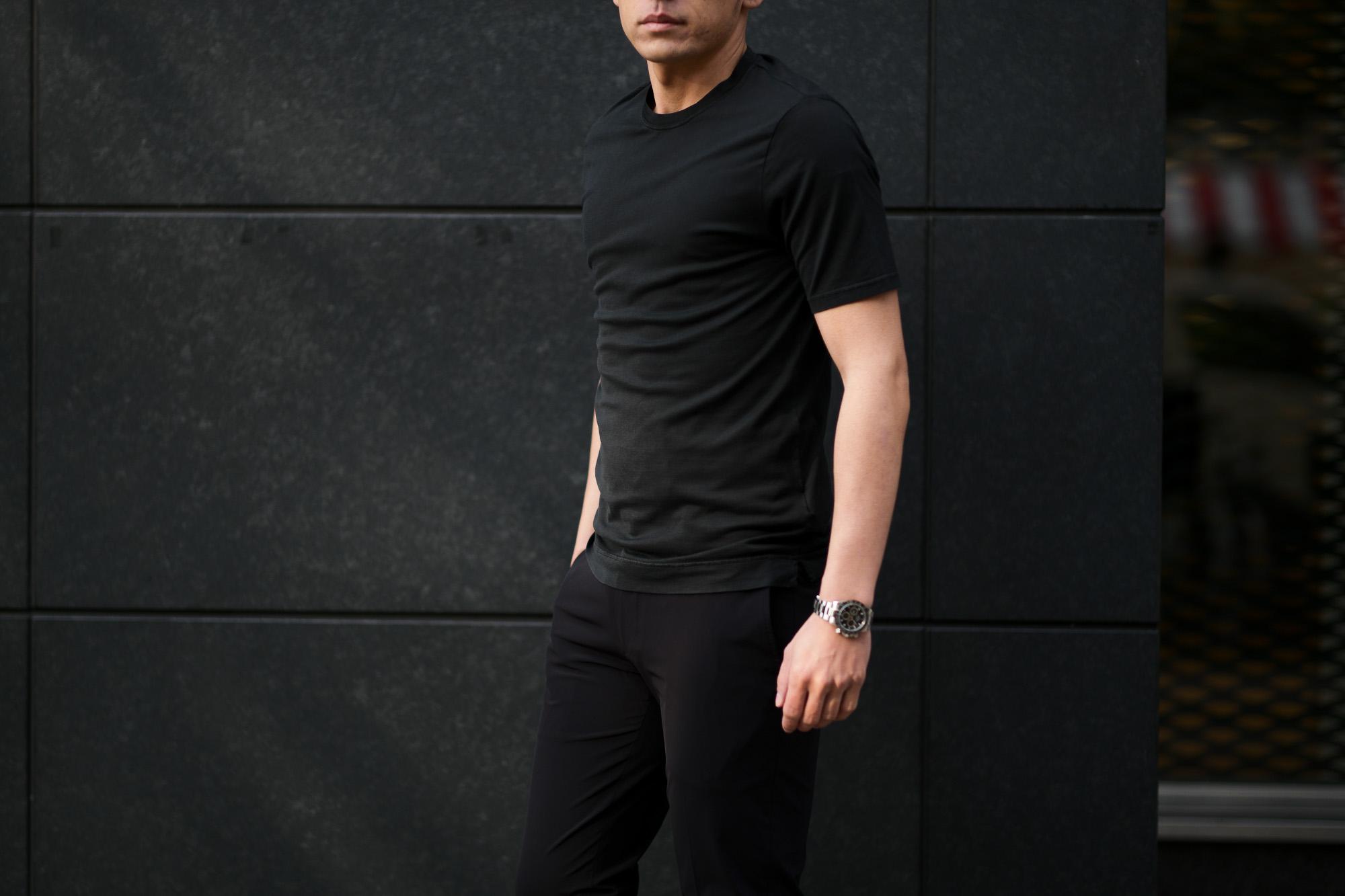 FEDELI(フェデーリ) Crew Neck T-shirt (クルーネック Tシャツ) ギザコットン Tシャツ BLACK (ブラック・36) made in italy (イタリア製) 2020 春夏新作 【入荷しました】【フリー分発売開始】 愛知 名古屋 altoediritto アルトエデリット TEE