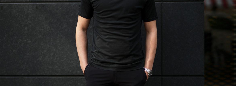 FEDELI(フェデーリ) Crew Neck T-shirt (クルーネック Tシャツ) ギザコットン Tシャツ BLACK (ブラック・36) made in italy (イタリア製) 2020 春夏新作 愛知 名古屋 altoediritto アルトエデリット TEE