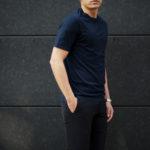 FEDELI(フェデーリ) Crew Neck T-shirt (クルーネック Tシャツ) ギザコットン Tシャツ NAVY (ネイビー・626) made in italy (イタリア製) 2020 春夏新作のイメージ