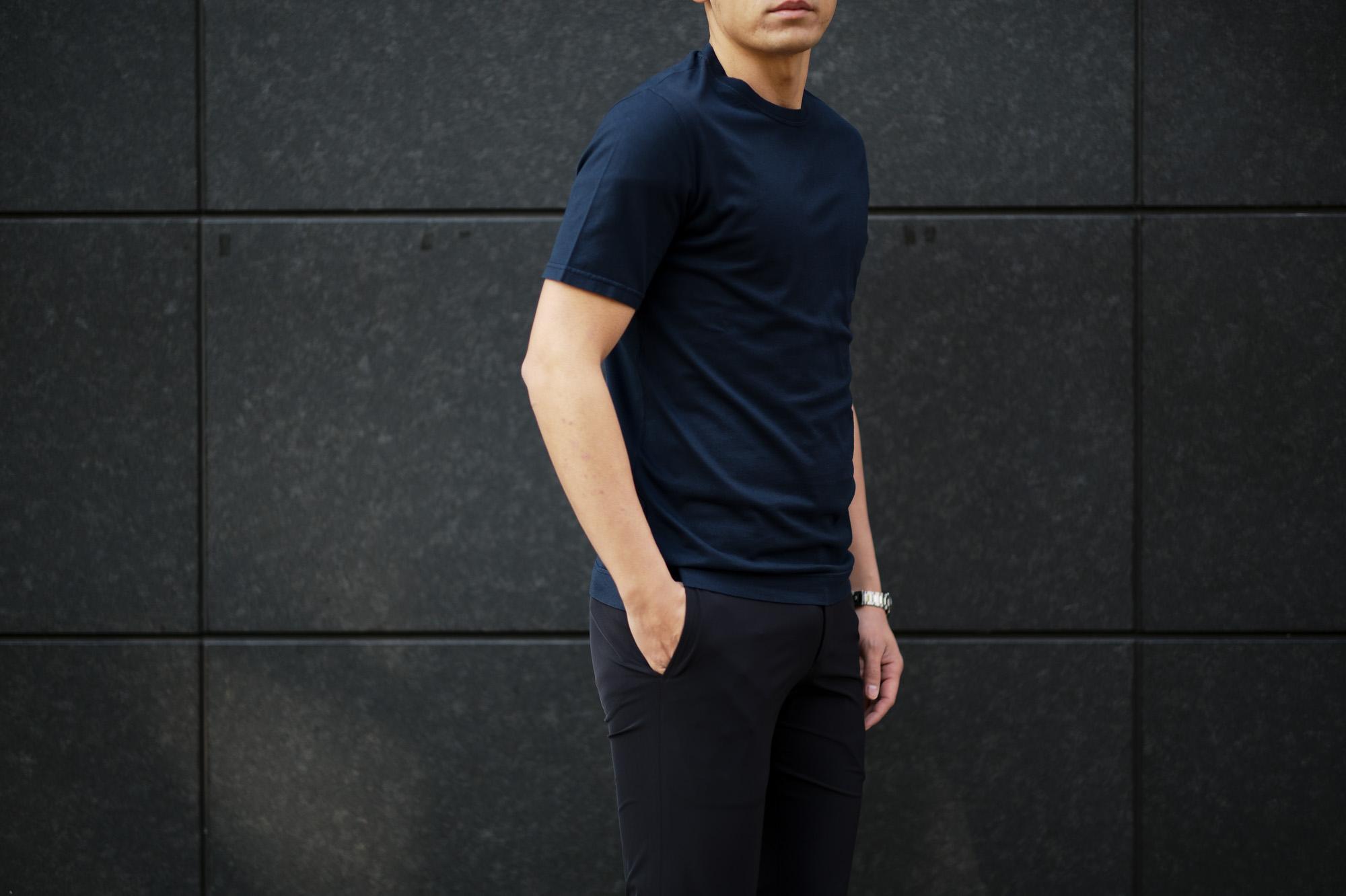 FEDELI(フェデーリ) Crew Neck T-shirt (クルーネック Tシャツ) ギザコットン Tシャツ NAVY (ネイビー・626) made in italy (イタリア製) 2020 春夏新作 愛知 名古屋 altoediritto アルトエデリット TEE