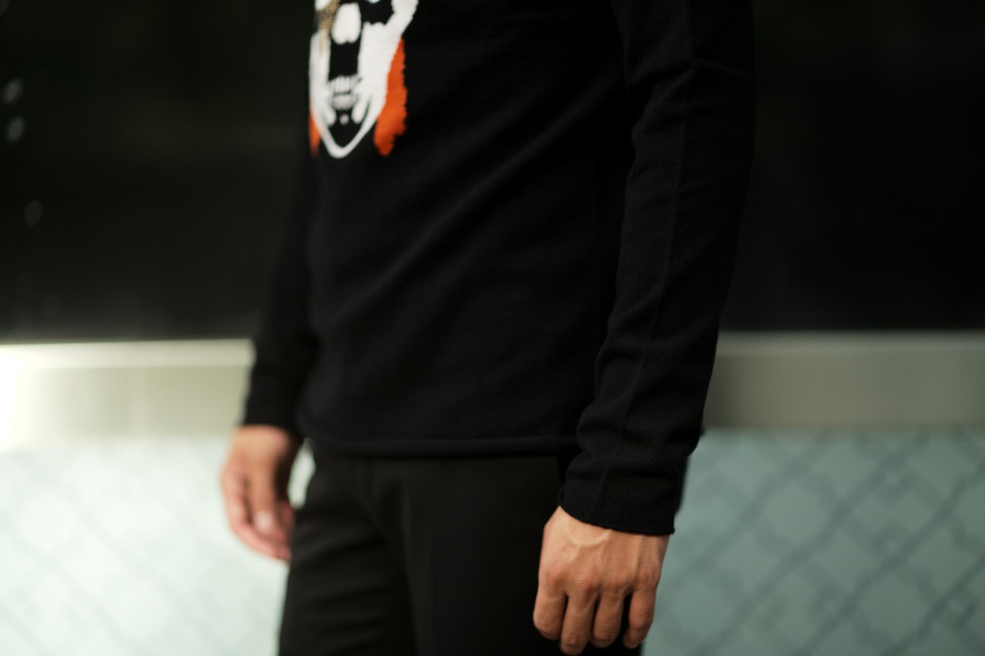 lucien pellat-finet(ルシアン ペラフィネ) David Bowie Skull Cashmere Sweater (デヴィッド ボウイ スカル カシミア セーター) インターシャ カシミア スカル セーター BLACK × NIVEOUS (ブラック × ホワイト) 愛知 名古屋 altoediritto アルトエデリット