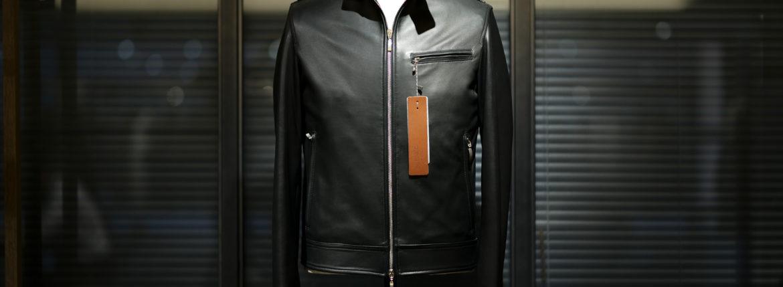 SILENCE(サイレンス) Single Leather Jacket (シングルレザー ジャケット) Goat Suede Leather (ゴートスエード レザー) シングル ライダース ジャケット COBALTO (ブルー) Made in italy (イタリア製) 2020 秋冬 【Alto e Diritto限定モデル】【ご予約受付中】のイメージ