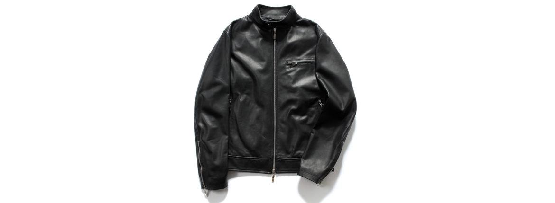 SILENCE(サイレンス) Single Leather Jacket (シングルレザー ジャケット) Lambskin Nappa Leather (ラムナッパ レザー) シングル ライダース ジャケット NERO (ブラック) Made in italy (イタリア製) 2020 春夏新作のイメージ