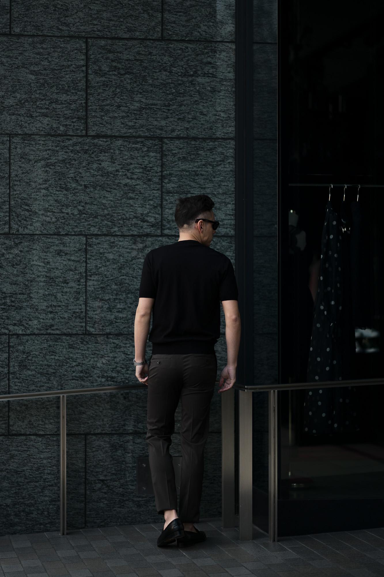 Cruciani(クルチアーニ) 33G Knit T-shirt 33ゲージ コットン ニット Tシャツ BLACK (ブラック・Z0048)  made in italy (イタリア製) 2020 春夏新作 愛知 名古屋 altoediritto アルトエデリット ニットTEE