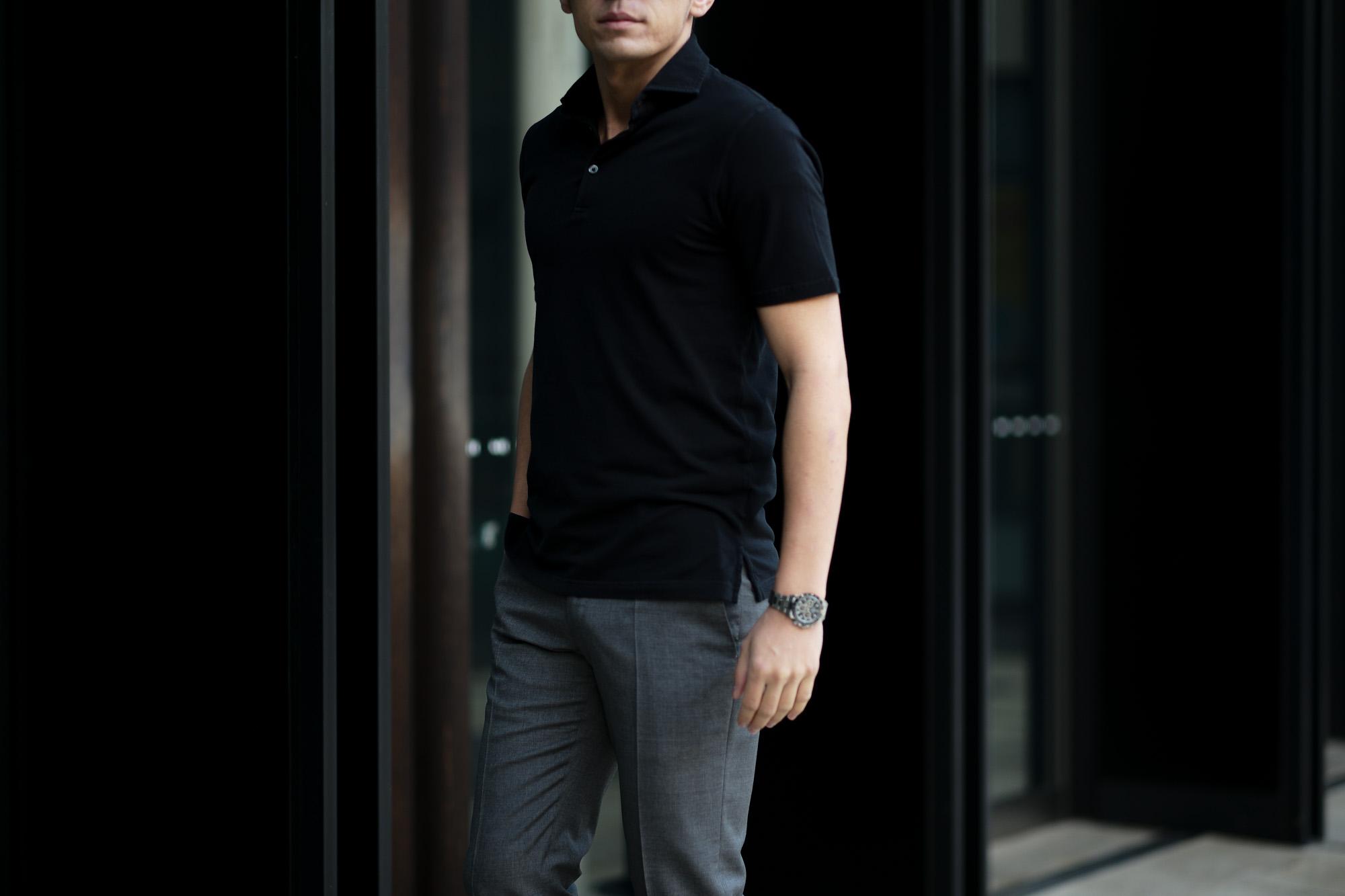 FEDELI(フェデーリ) Piquet Polo Shirt (ピケ ポロシャツ) カノコ ポロシャツ BLACK (ブラック・36) made in italy (イタリア製)2020 春夏新作 愛知 名古屋 altoediritto アルトエデリット ポロ
