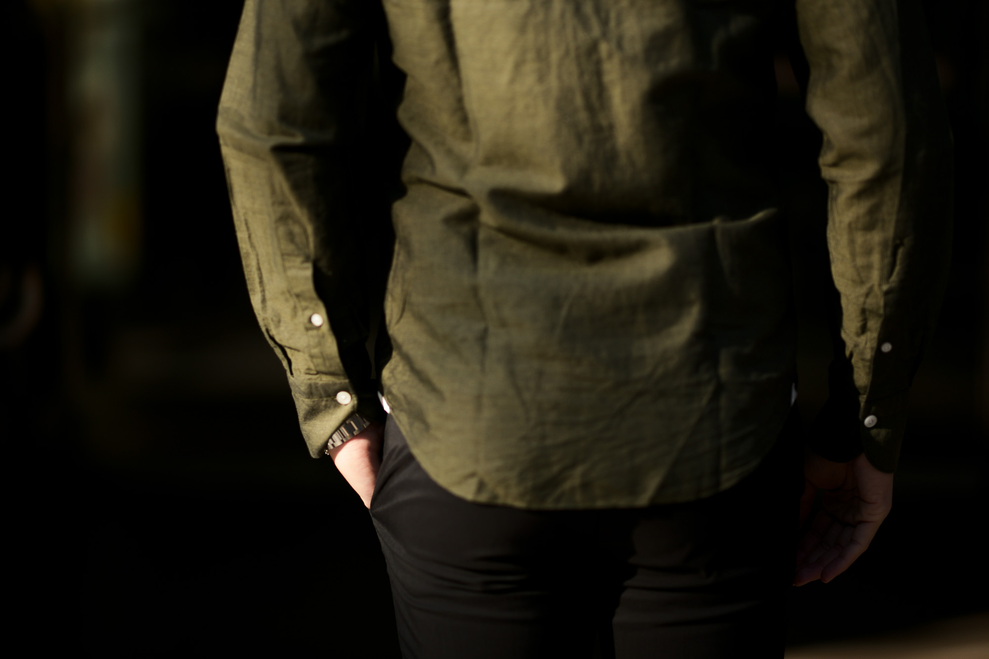 Finamore (フィナモレ) SEUL ITALIAN COLOR COTTON LINEN SHIRTS コットンリネン ワンピースカラー シャツ OLIVE (オリーブ・14) made in italy (イタリア製) 2020 春夏新作 愛知 名古屋 altoediritto アルトエデリット