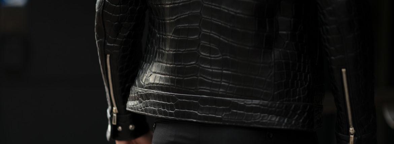 Georges de Patricia (ジョルジュ ド パトリシア) Huracan Porosus Crocodile(ウラカン ポロサス クロコダイル) 925 STERLING SILVER (925 スターリングシルバー) Porosus Crocodile ポロサス クロコダイル エキゾチックレザー ダブルライダース ジャケット NOIR (ブラック) 2020 【Special Model】【ご予約受付中】愛知 名古屋 alto e diritto アルトエデリット