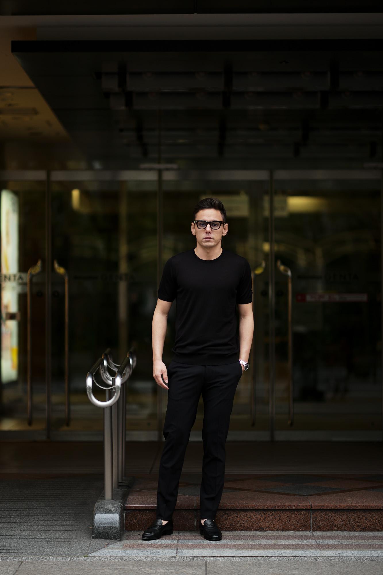 Gran Sasso (グランサッソ) Silk Knit T-shirt (シルクニット Tシャツ) SETA (シルク 100%) ショートスリーブ シルク ニット Tシャツ BLACK (ブラック・099) made in italy (イタリア製) 2020 春夏新作  gransasso 愛知 名古屋 altoediritto アルトエデリット