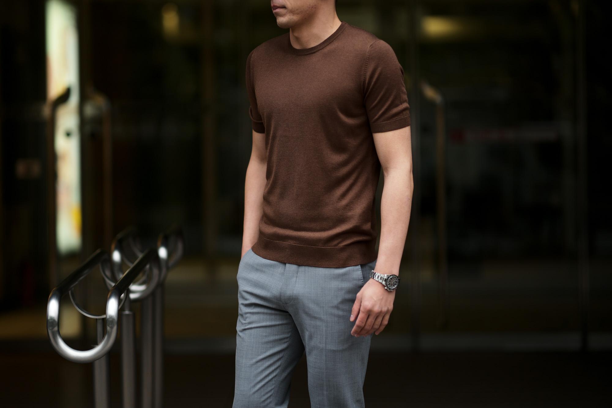 Gran Sasso (グランサッソ) Silk Knit T-shirt (シルクニット Tシャツ) SETA (シルク 100%) ショートスリーブ シルク ニット Tシャツ GOLD (ゴールド・170) made in italy (イタリア製) 2020 春夏新作 gransasso 愛知 名古屋 altoediritto アルトエデリット