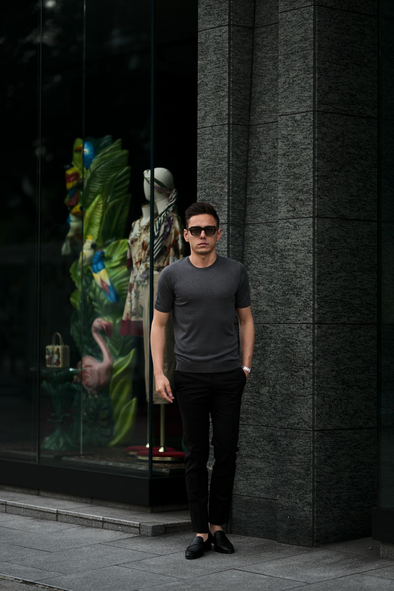 Gran Sasso (グランサッソ) Silk Knit T-shirt (シルクニット Tシャツ) SETA (シルク 100%) ショートスリーブ シルク ニット Tシャツ GREY (グレー・097) made in italy (イタリア製) 2020 春夏新作  gransasso 愛知 名古屋 altoediritto アルトエデリット