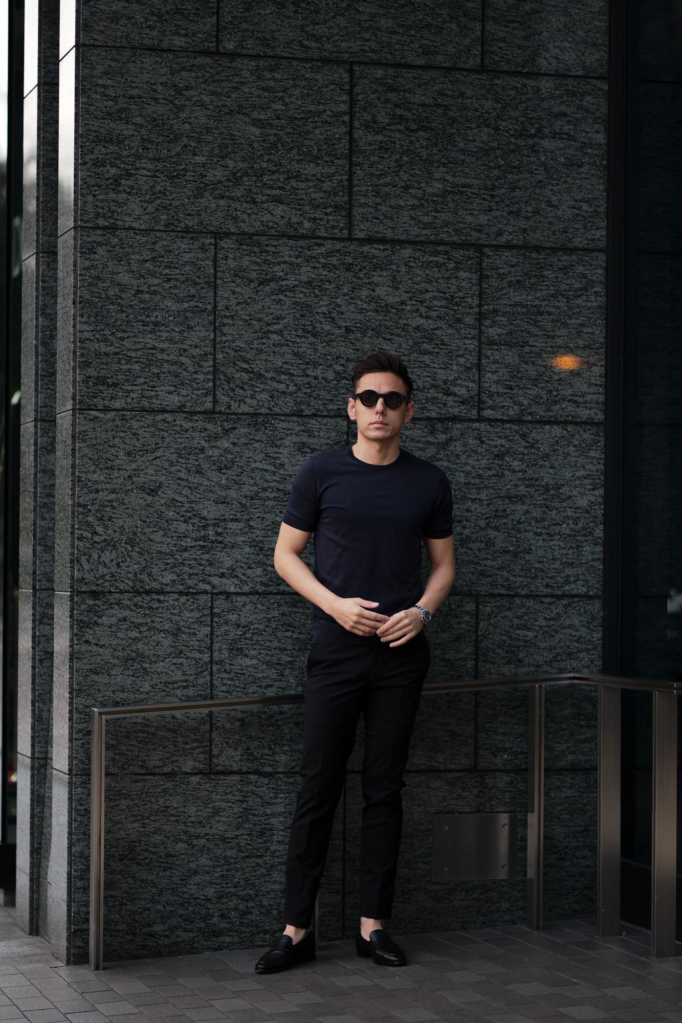 Gran Sasso (グランサッソ) Silk Knit T-shirt (シルクニット Tシャツ) SETA (シルク 100%) ショートスリーブ シルク ニット Tシャツ NAVY (ネイビー・597) made in italy (イタリア製) 2020 春夏新作  gransasso 愛知 名古屋 altoediritto アルトエデリット