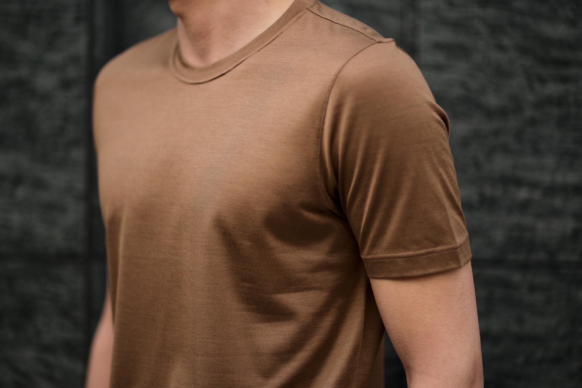 Gran Sasso (グランサッソ) Silk T-shirt (シルク Tシャツ) SETA (シルク 100%) ショートスリーブ シルク Tシャツ GOLD (ゴールド・160) made in italy (イタリア製) 2020 春夏新作  愛知 名古屋 altoediritto アルトエデリット