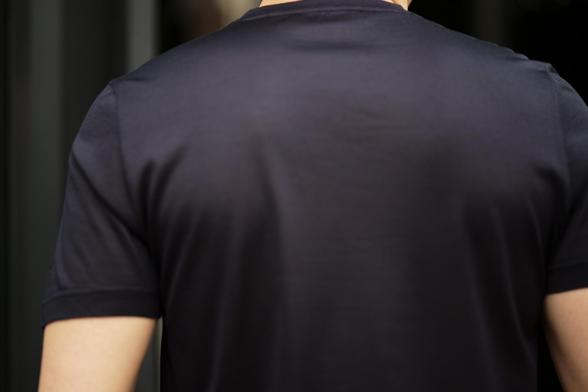 Gran Sasso (グランサッソ) Silk T-shirt (シルク Tシャツ) SETA (シルク 100%) ショートスリーブ シルク Tシャツ NAVY (ネイビー・308) made in italy (イタリア製) 2020 春夏新作   愛知 名古屋 altoediritto アルトエデリット