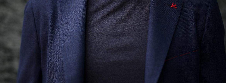 ISAIA (イザイア) POMPEI (ポンペイ) ウールシルク ホップサック サマー ジャケット NAVY (ネイビー・810) Made in italy (イタリア製) 2020 春夏新作のイメージ