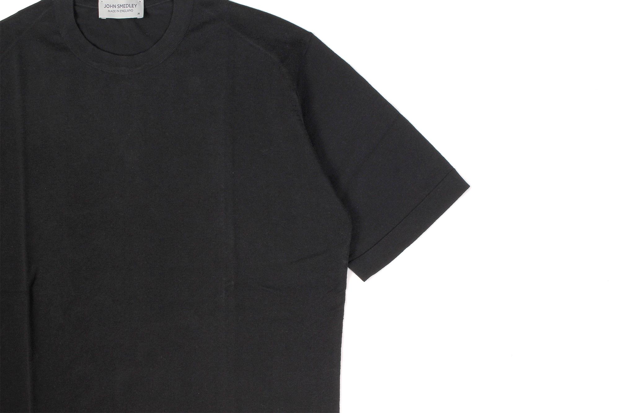 JOHN SMEDLEY(ジョンスメドレー) LORCA (ロルカ) SEA ISLAND COTTON (シーアイランドコットン) コットンニット Tシャツ BLACK (ブラック) Made in England (イギリス製) 2020 春夏新作 愛知 名古屋 altoediritto アルトエデリット