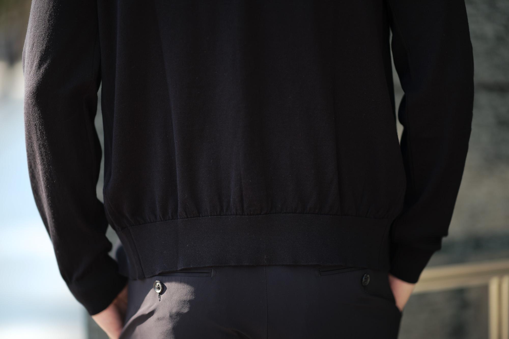 JOHN SMEDLEY(ジョンスメドレー) MODENA (モデナ) SEA ISLAND COTTON (シーアイランドコットン) コットンニット Vネック カーディガン BLACK (ブラック) Made in England (イギリス製) 2020 春夏新作 altoediritto アルトエデリット 愛知 名古屋