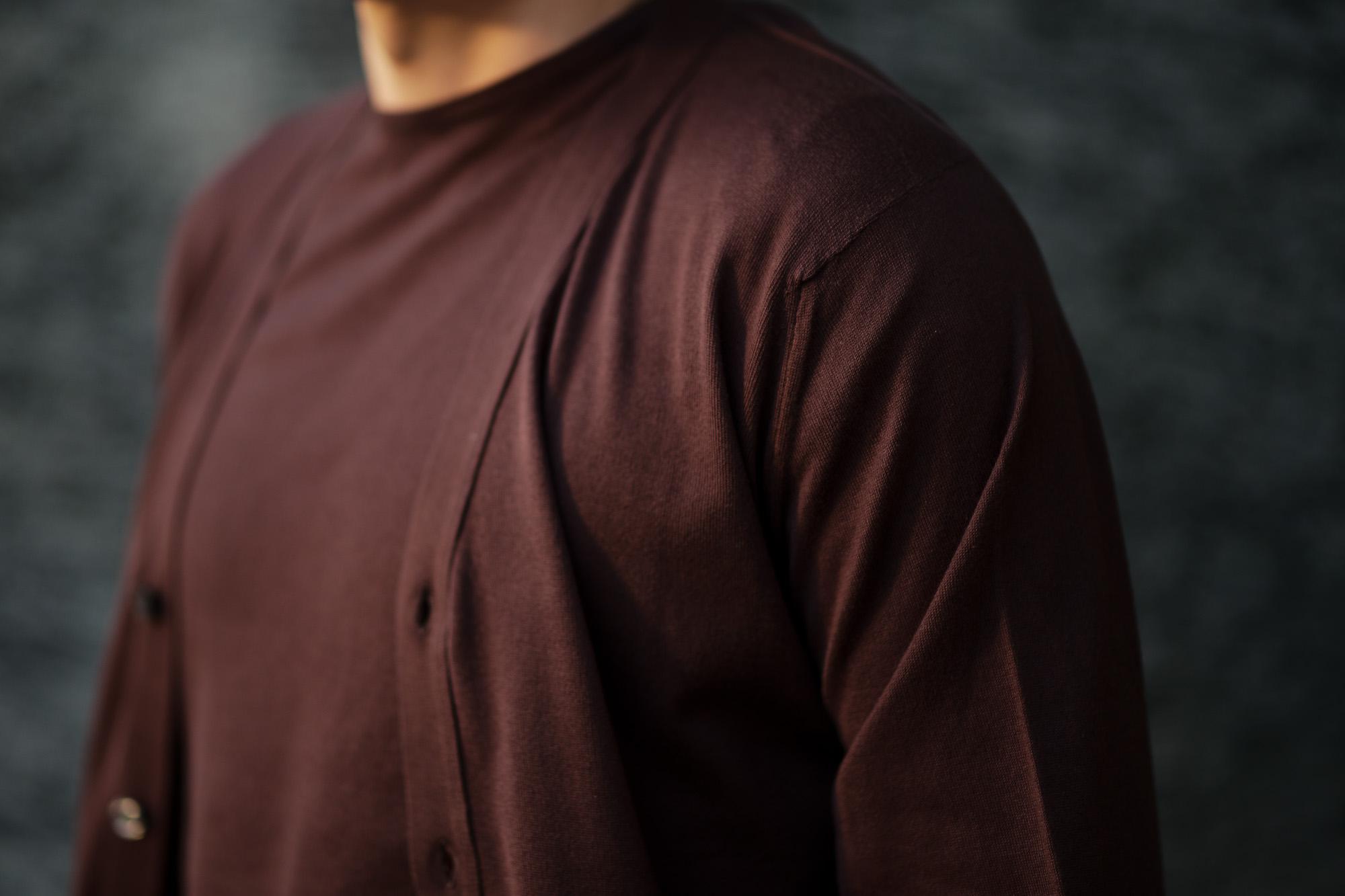 JOHN SMEDLEY(ジョンスメドレー) MODENA (モデナ) SEA ISLAND COTTON (シーアイランドコットン) コットンニット Vネック カーディガン COFFEE BEAN (コーヒービーン) Made in England (イギリス製) 2020 春夏新作 altoediritto アルトエデリット 愛知 名古屋