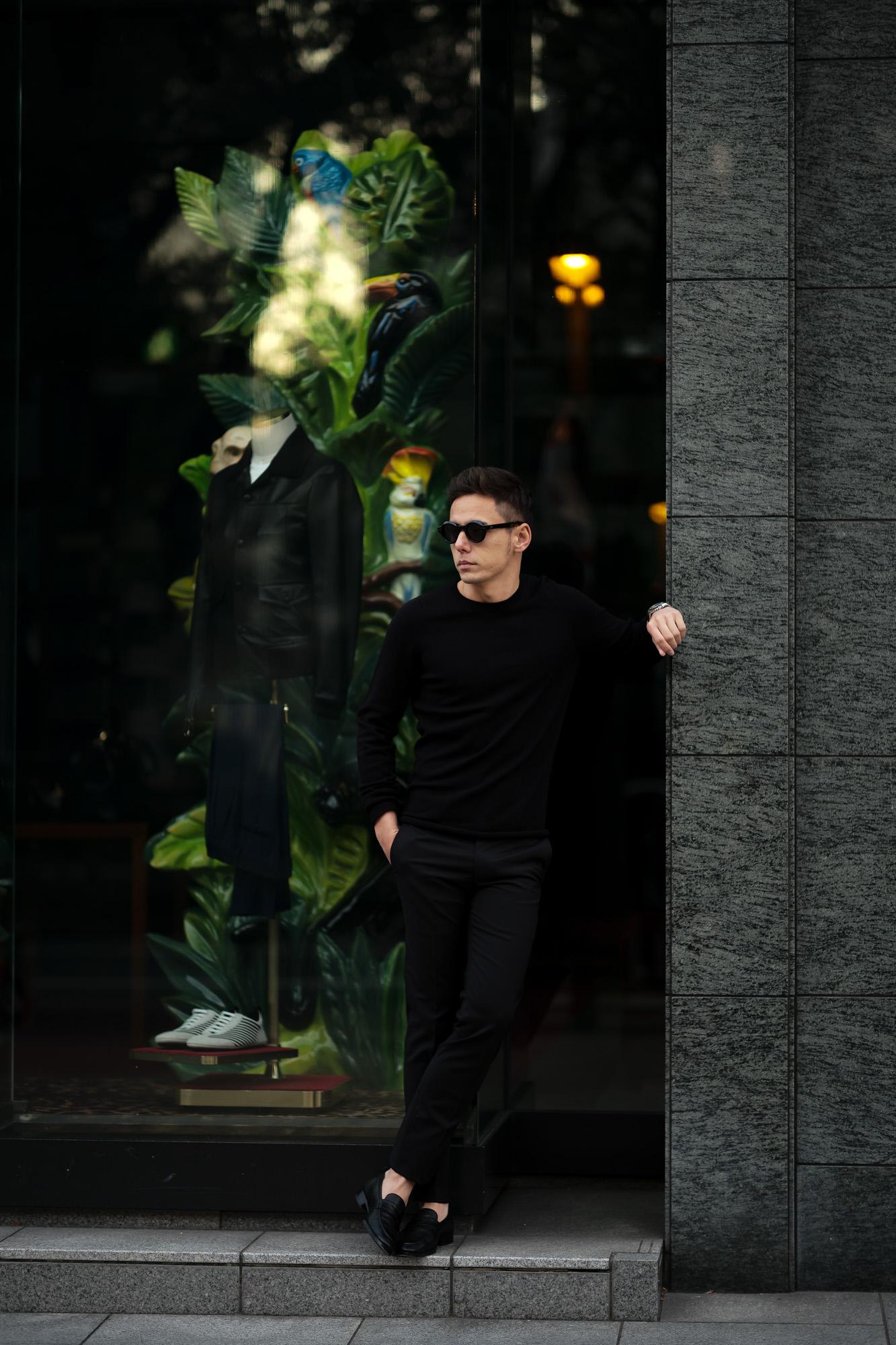 lucien pellat-finet(ルシアン ペラフィネ) Cashmere Crew Neck Sweater カシミア クルーネック セーター BLACK (ブラック) made in scotland (スコットランド製) 2020 春夏新作 愛知 名古屋 altoediritto アルトエデリット lucienpellatfinet インターシャ 無地