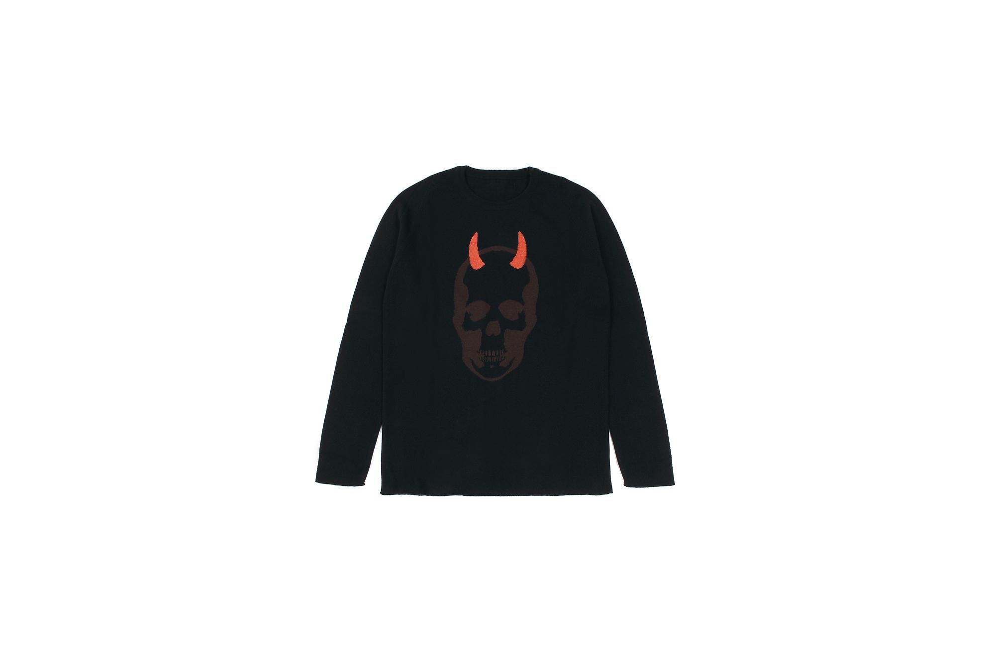 lucien pellat-finet(ルシアン ペラフィネ) Horn Skull Cashmere Sweater (ホーン スカル カシミア セーター) インターシャ カシミア スカル セーター BLACK × BROWN (ブラック × ブラウン) made in scotland (スコットランド製) 2020 春夏新作 愛知 名古屋 altoediritto アルトエデリット