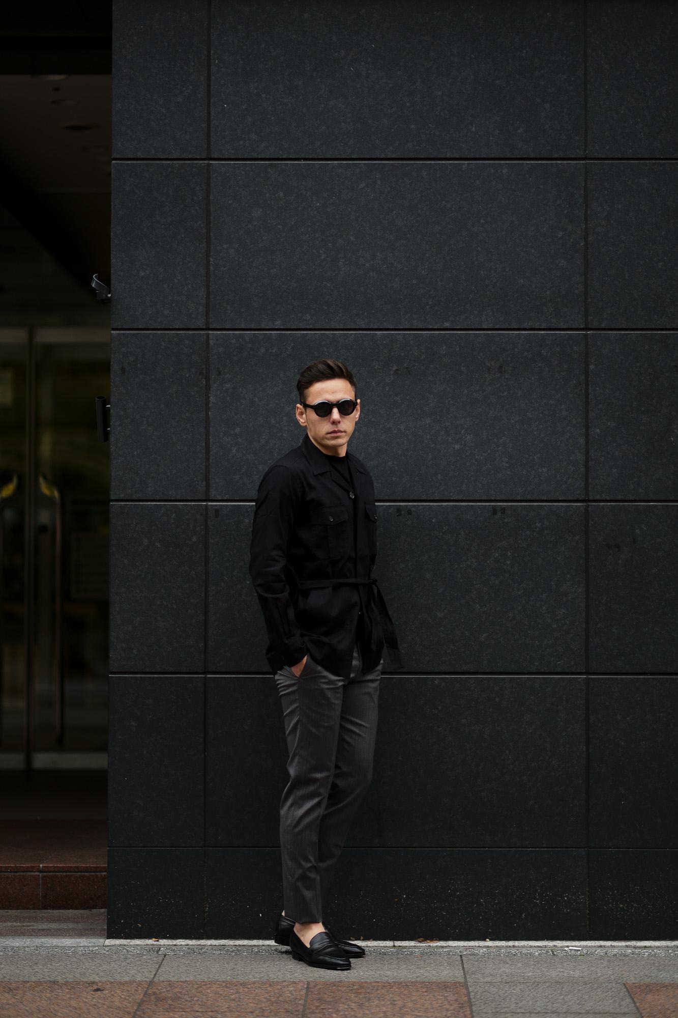 ORIAN (オリアン) LARMY リネンコットン サファリ ジャケット BLACK (ブラック・90) Made in italy (イタリア製) 2020 春夏 【ご予約受付中】愛知 名古屋 altoediritto アルトエデリット