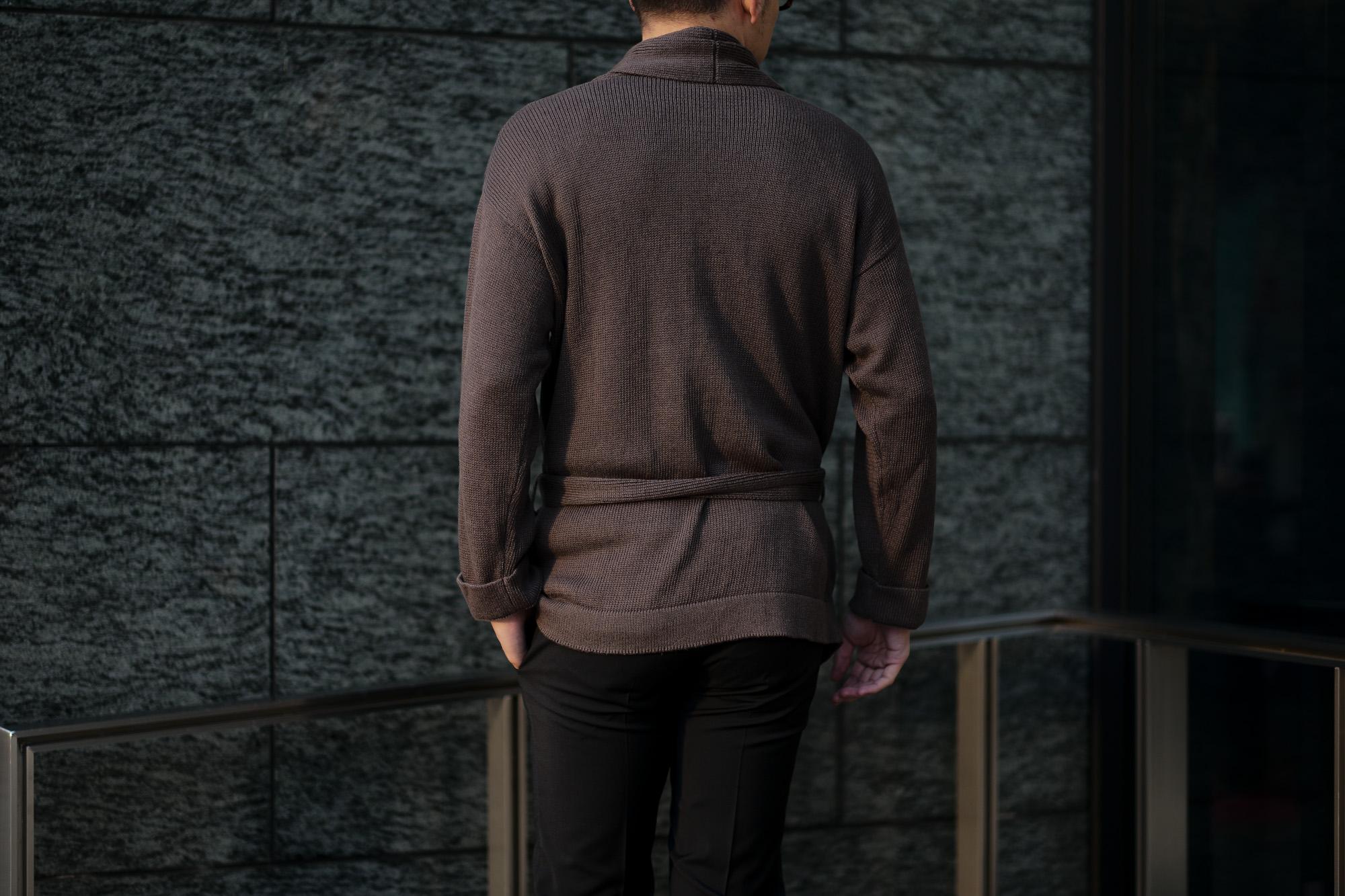 Settefili Cashmere(セッテフィーリ カシミア) Belted Shawl Collar Cardigan (ベルテッド ショールカラー カーディガン) リネンコットン ニット カーディガン BROWN (ブラウン・MA20) made in italy (イタリア製) 2020 春夏新作 愛知 名古屋 altoediritto アルトエデリット