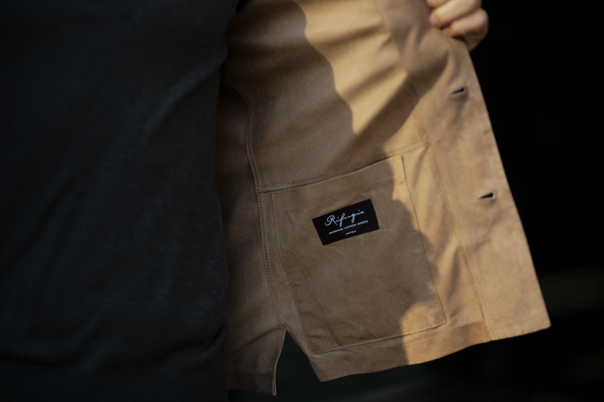 Alfredo Rifugio (アルフレード リフージオ) 20E326HM CAMOSCIO Summer Suede Leather Shirts サマースウェード レザーシャツ BEIGE(ベージュ) made in italy (イタリア製) 2020 春夏新作 alfredorifujio アルフレードリフージオ 愛知 名古屋 Alto e Diritto アルト エ デリット alto e diritto アルトエデリット レザージャケット 素肌にレザー 42,44,46,48,50,52