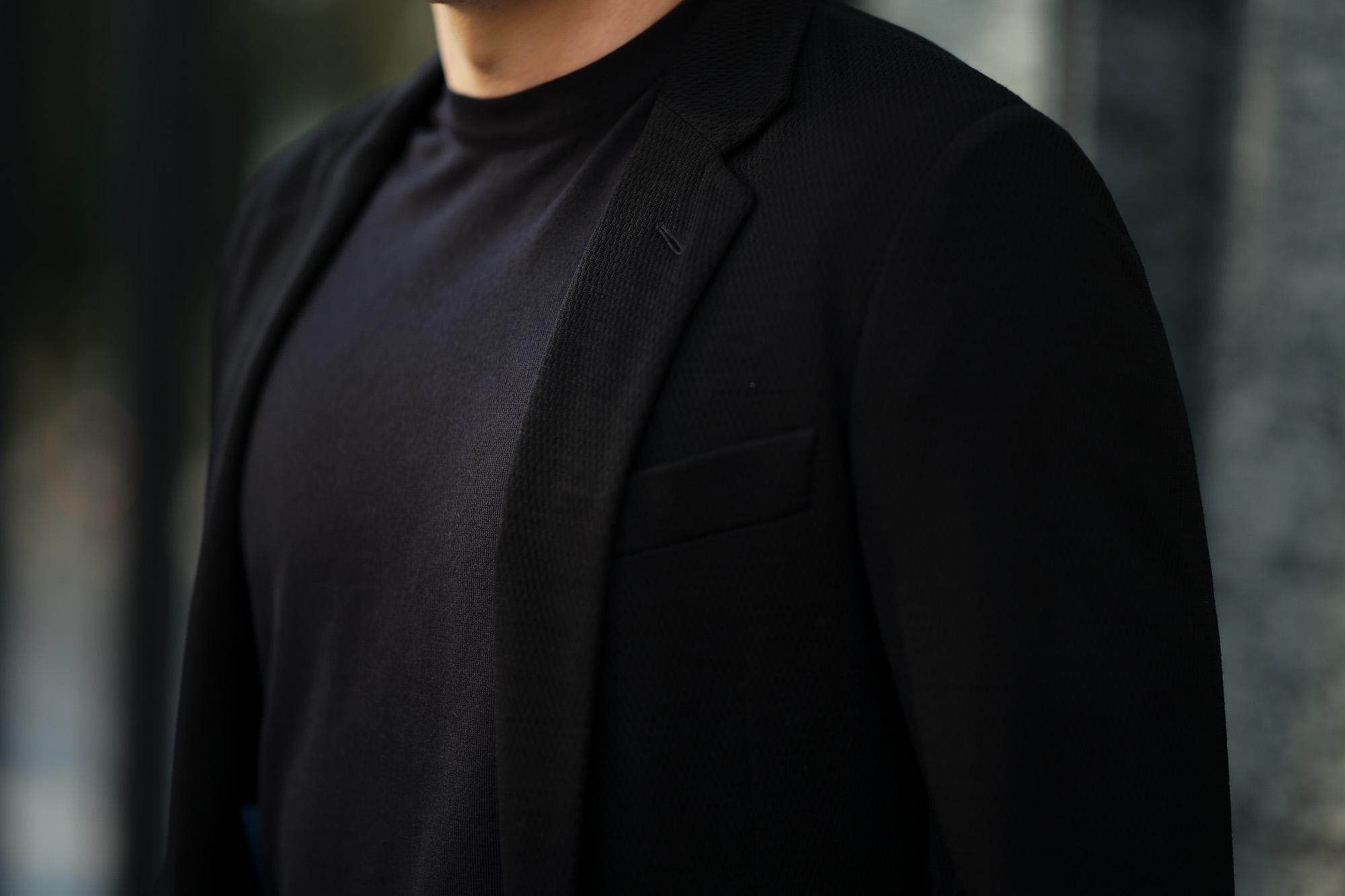 BELVEST (ベルベスト) CAPSULE SINGLE BREASTE JACKET 2PATCH WITH BAG SUPER120's Jersey パッカブル サマーウールジャージ ジャケット BLACK (ブラック) Made in italy (イタリア製) 2020 春夏新作  愛知 名古屋 altoediritto アルトエデリット