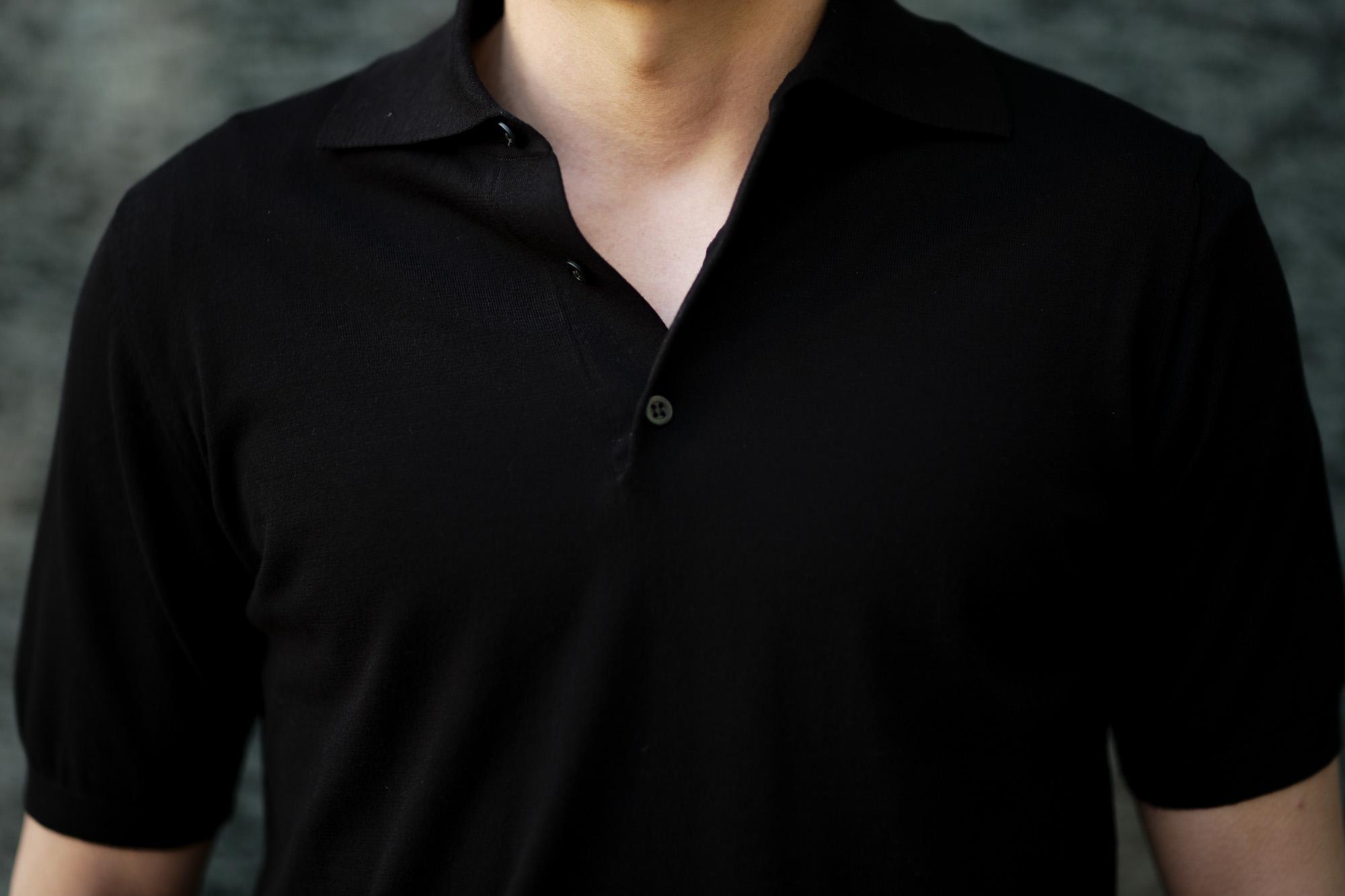 Cruciani(クルチアーニ) 33G Knit Polo Shirt 33ゲージ コットン ニット ポロシャツ BLACK (ブラック・Z0048) made in italy (イタリア製) 2020 春夏新作 愛知 名古屋 altoediritto アルトエデリット