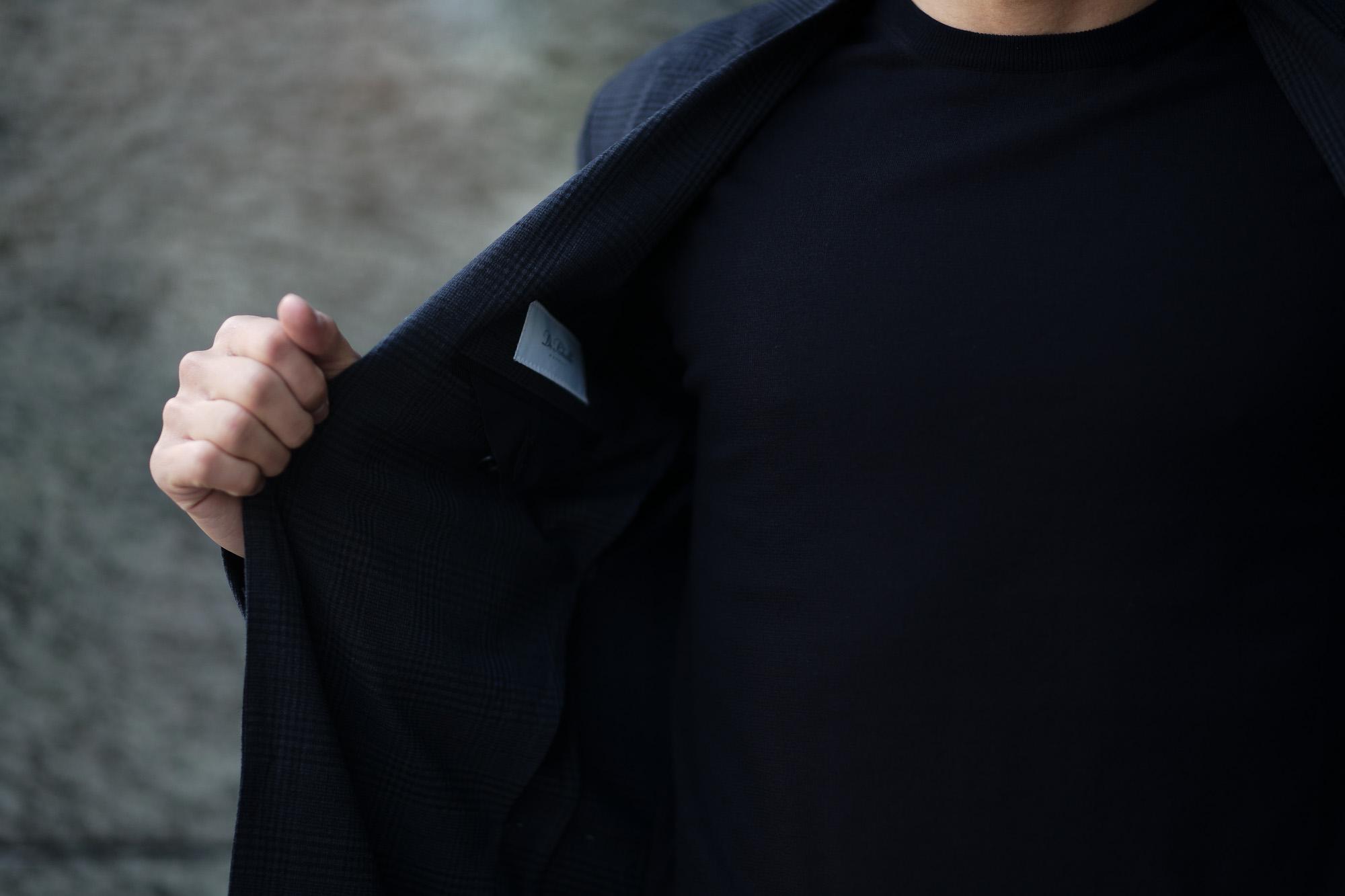 De Petrillo(デ ペトリロ) NUVOLA (ヌーボラ) ストレッチ シアサッカー グレンチェック ジャケット NAVY (ネイビー・454) Made in italy (イタリア製) 2020 春夏新作 デペトリロ 愛知 名古屋 altoediritto アルトエデリット