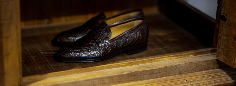 ENZO BONAFE (エンツォボナフェ) ART. EB-08 Crocodile Coin Loafer (クロコダイル コイン ローファー) Mat Crocodile Leather マット クロコダイル レザー ドレスシューズ ローファー COCCO DARK BROWN (ブラウン) made in italy (イタリア製) 2020 春夏新作のイメージ