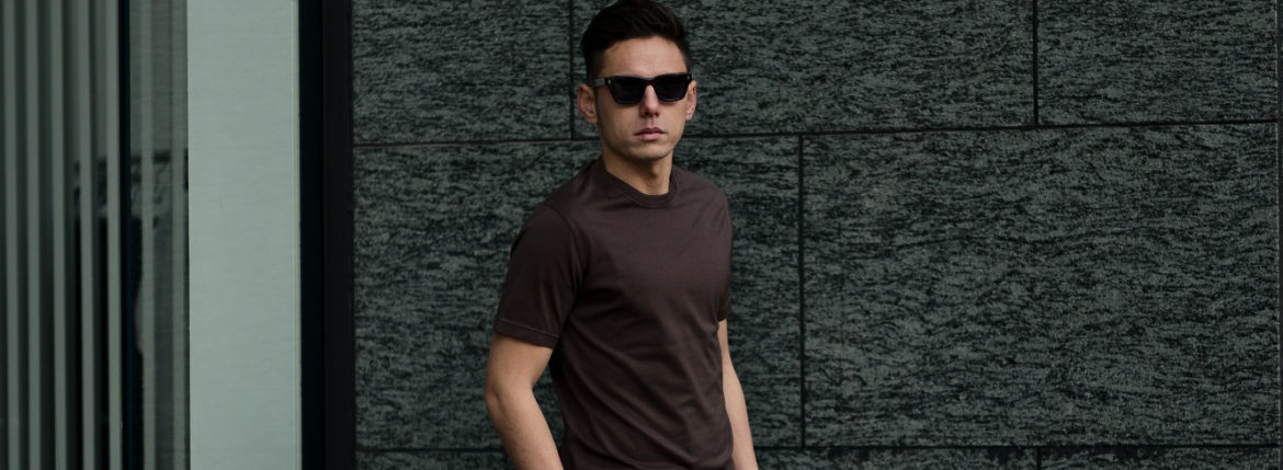 FEDELI(フェデーリ) Crew Neck T-shirt (クルーネック Tシャツ) ギザコットン Tシャツ BROWN (ブラウン・811) made in italy (イタリア製) 2020 春夏新作 愛知 名古屋 altoediritto アルトエデリット TEE