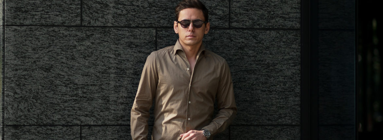 Finamore (フィナモレ) SEUL ITALIAN COLOR COTTON POPLIN SHIRTS コットンポプリン ワンピースカラー シャツ BEIGE (ベージュ・39) made in italy (イタリア製) 2020 春夏新作のイメージ