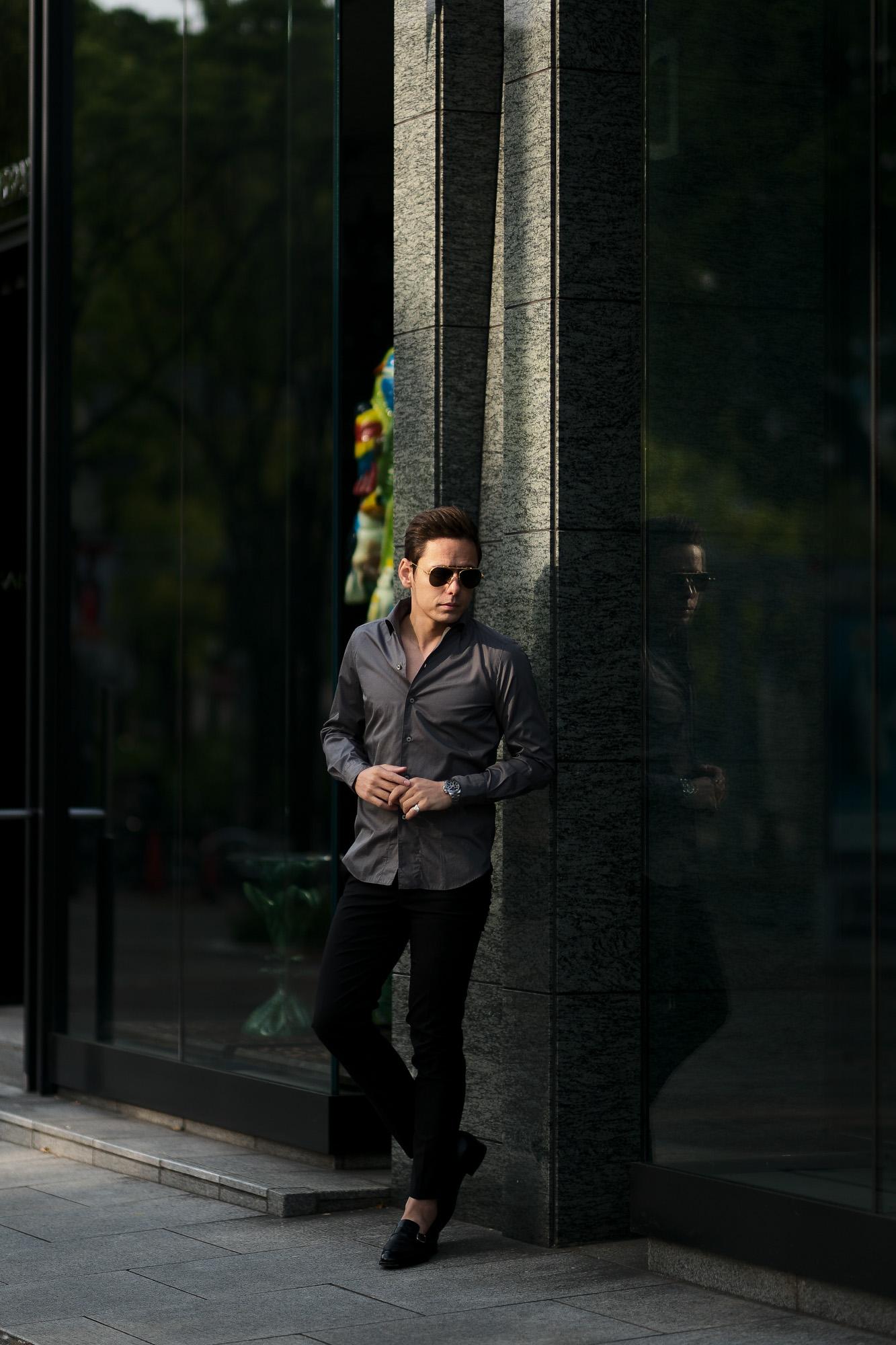 Finamore (フィナモレ) SEUL ITALIAN COLOR COTTON POPLIN SHIRTS コットンポプリン ワンピースカラー シャツ GRAY (グレー・42) made in italy (イタリア製) 2020 春夏新作 愛知 名古屋 altoediritto アルトエデリット