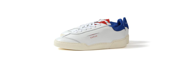 GHOUD(ゴード) LOB01 LOW MAN レザースニーカー WHITE/BLUE/RED(ホワイト/ブルー/レッド) 2020 春夏新作のイメージ