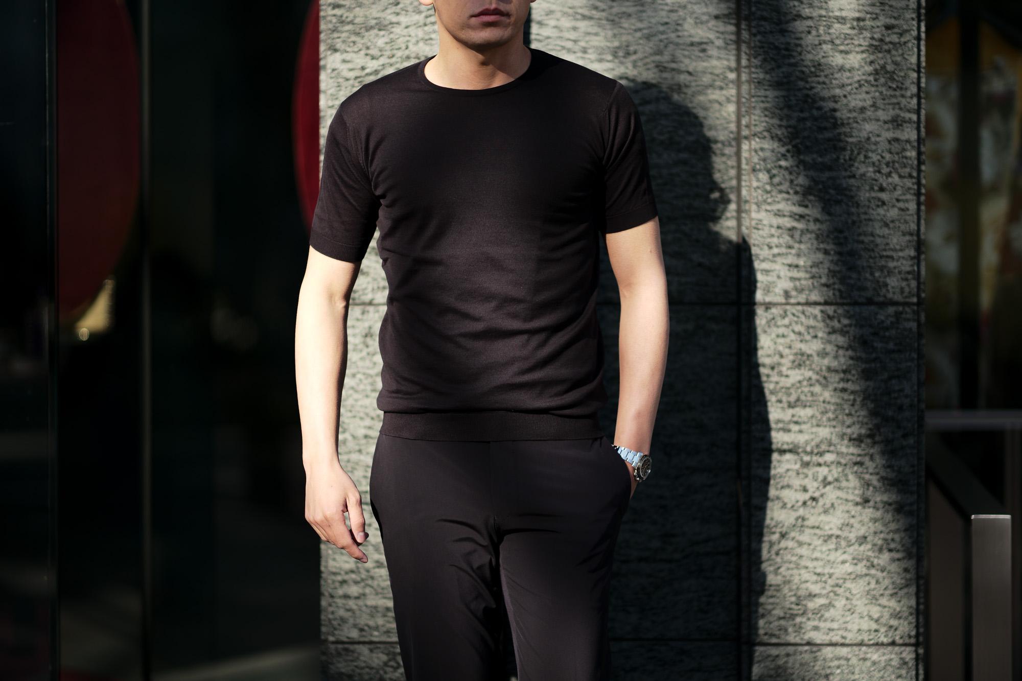 JOHN SMEDLEY(ジョンスメドレー) BELDEN (ベルデン) SEA ISLAND COTTON (シーアイランドコットン) ショートスリーブ コットンニット Tシャツ BLACK (ブラック) Made in England (イギリス製) 2020 春夏新作  愛知 名古屋 altoediritto アルトエデリット