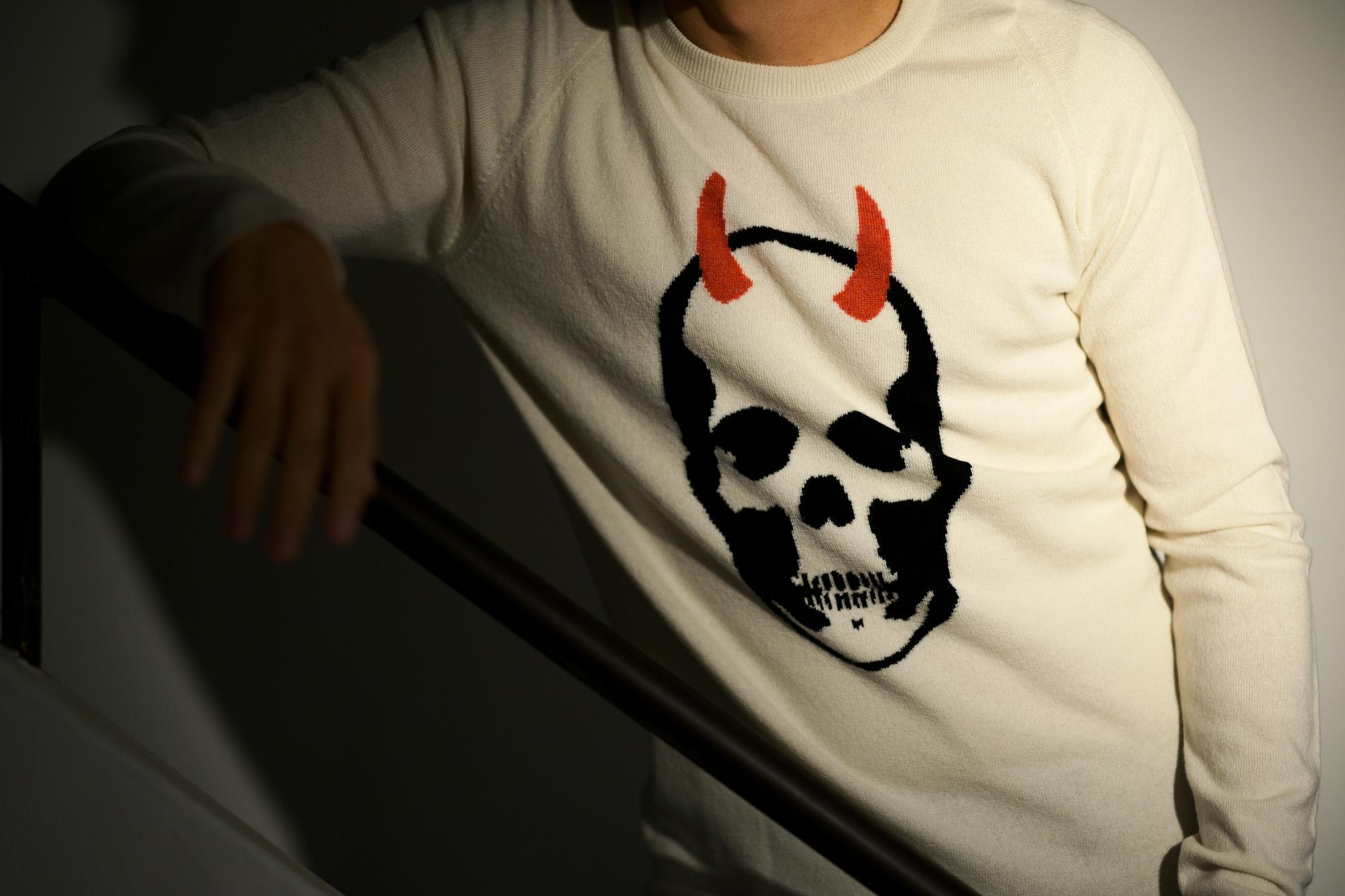 lucien pellat-finet(ルシアン ペラフィネ) Horn Skull Cashmere Sweater (ホーン スカル カシミア セーター) インターシャ カシミア スカル セーター NIVEOUS × BLACK (ホワイト × ブラック) made in scotland (スコットランド製) 2020 春夏新作 愛知 名古屋 altoediritto アルトエデリット