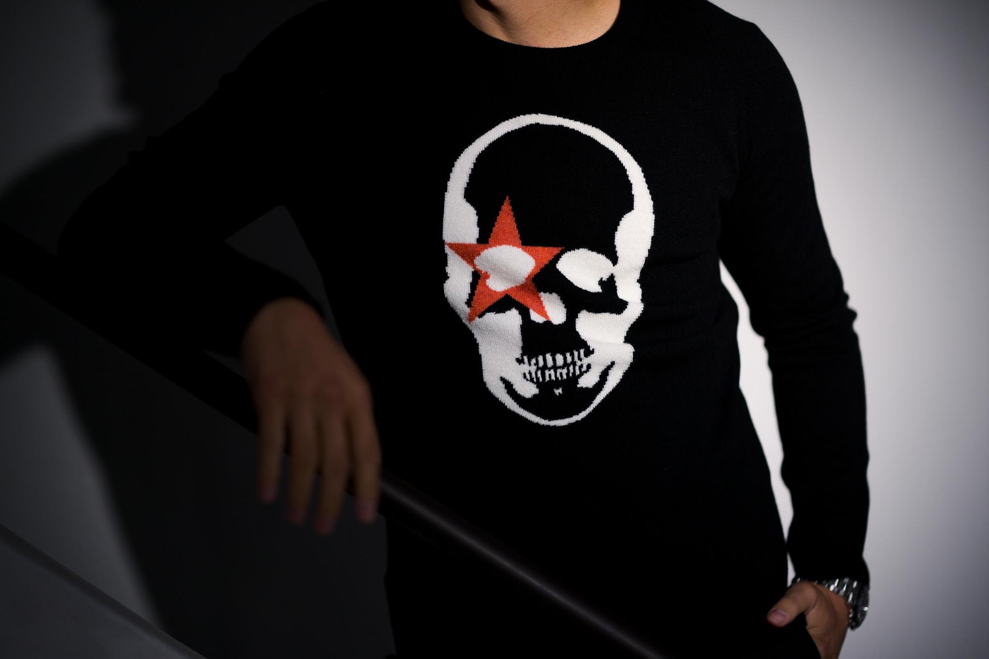 lucien pellat-finet(ルシアン ペラフィネ) KISS Skull Cashmere Sweater (キッス スカル カシミア セーター) インターシャ カシミア スカル セーター BLACK × NIVEOUS (ブラック × ホワイト) made in scotland (スコットランド製) 2020 春夏新作 愛知 名古屋 altoediritto アルトエデリット