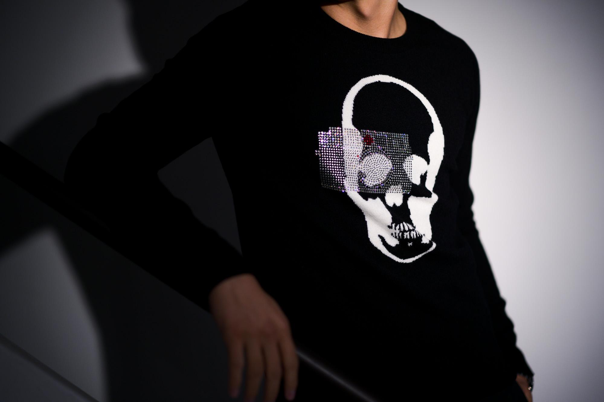 lucien pellat-finet(ルシアン ペラフィネ) Skull Camera Cashmere Sweater (スカル カメラ カシミア セーター) インターシャ カシミア スカル セーター BLACK × NIVEOUS (ブラック × ホワイト) made in scotland (スコットランド製) 2020 春夏新作 愛知 名古屋 altoediritto アルトエデリット