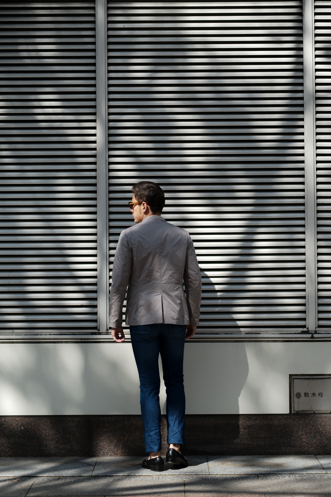 MOORER(ムーレー) GHIBERTI-KM1 (ギベルティ) ナイロン シングル ジャケット MARMO (グレー) Made in italy (イタリア製) 2020 春夏新作 愛知 名古屋 altoediritto アルトエデリット