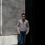 MOORER(ムーレー) VANGI-KM1(バンジー KM1) ナイロン シングル ライダースジャケット MARMO(グレー・32) Made in italy (イタリア製)  2020春夏新作のイメージ