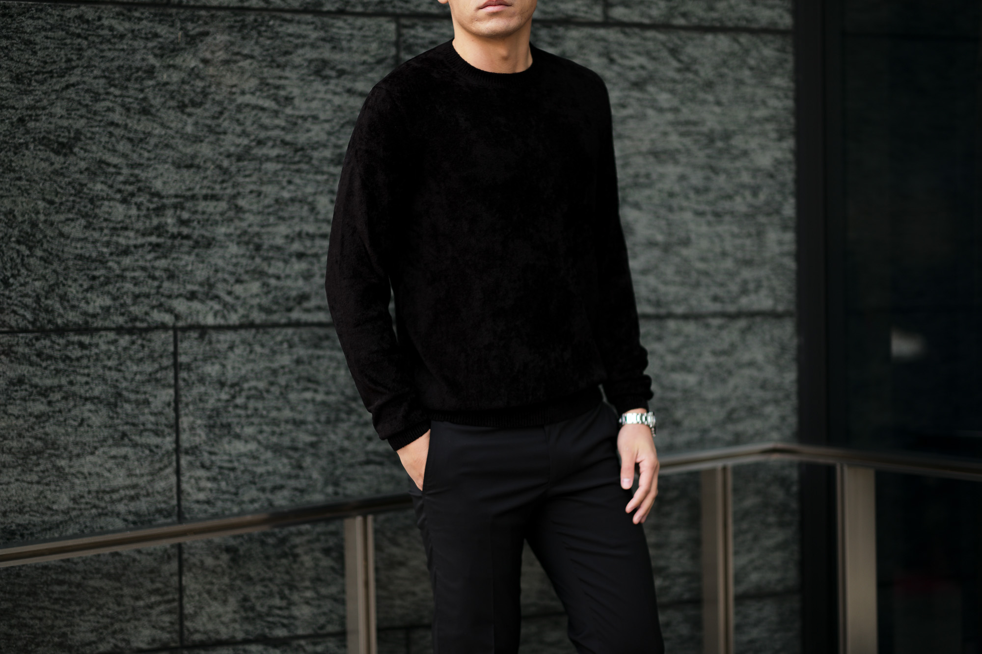 Settefili Cashmere (セッテフィーリ カシミア) Pile Knit Sweater パイルニットセーター BLACK (ブラック・GD03) made in italy (イタリア製)  2020 春夏新作 愛知 名古屋 altoediritto アルトエデリット