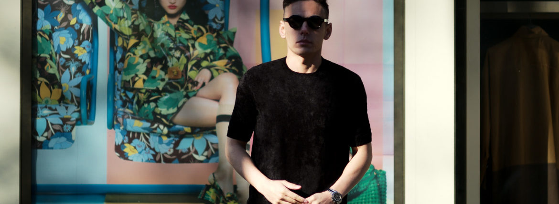 Settefili Cashmere (セッテフィーリ カシミア) Pile Knit T-shirt パイルニットTシャツ BLACK (ブラック・GD03) made in italy (イタリア製) 2020 春夏新作のイメージ