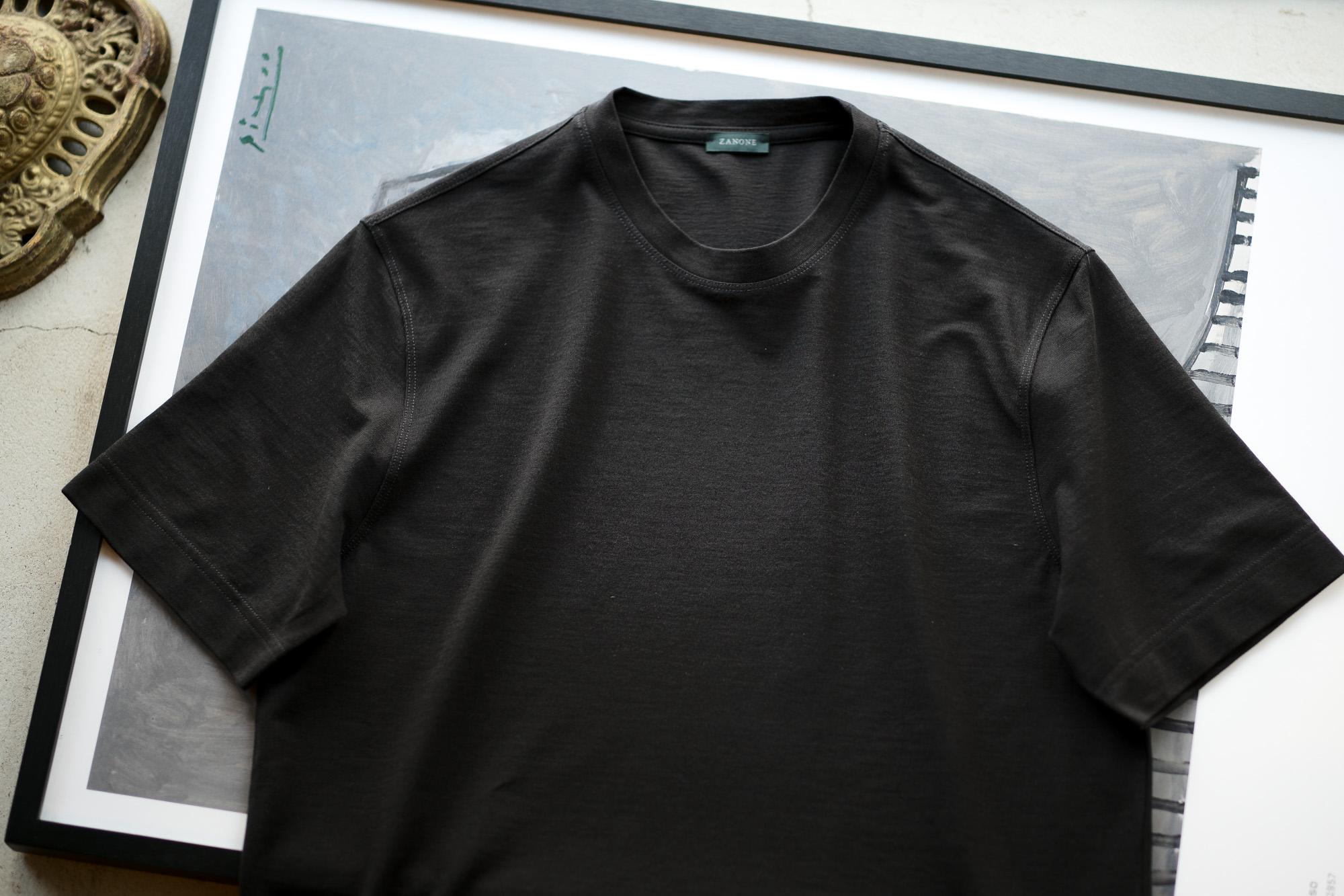 ZANONE(ザノーネ) Crew Neck T-shirt (クルーネックTシャツ) ice cotton アイスコットン Tシャツ BLACK (ブラック・Z0015) MADE IN ITALY(イタリア製) 2020 春夏新作 愛知 名古屋 altoediritto アルトエデリット tee 夏Tシャツ