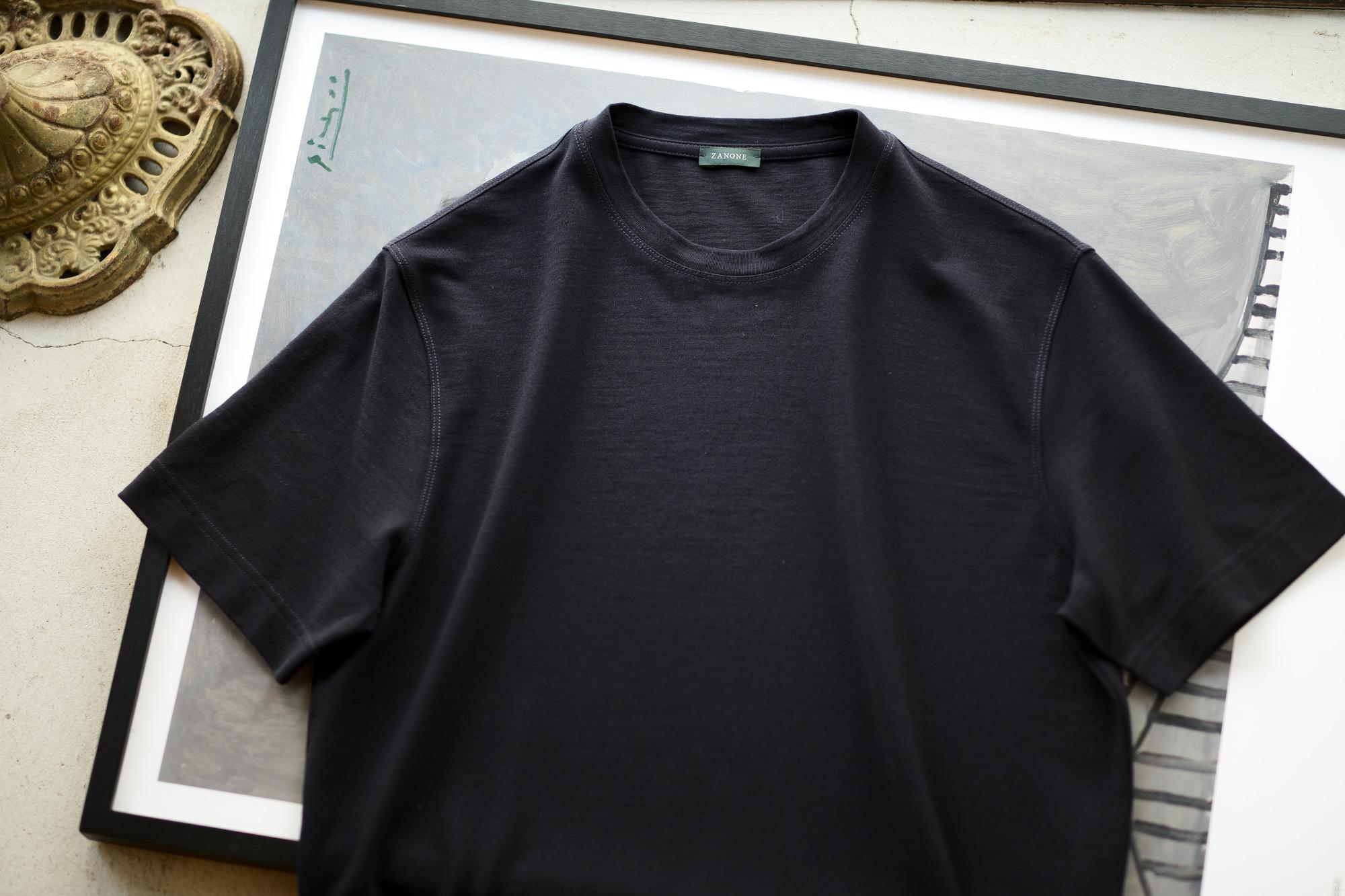 ZANONE(ザノーネ) Crew Neck T-shirt (クルーネックTシャツ) ice cotton アイスコットン Tシャツ NAVY (ネイビー・Z0542) MADE IN ITALY(イタリア製) 2020 春夏新作 愛知 名古屋 altoediritto アルトエデリット tee 夏Tシャツ