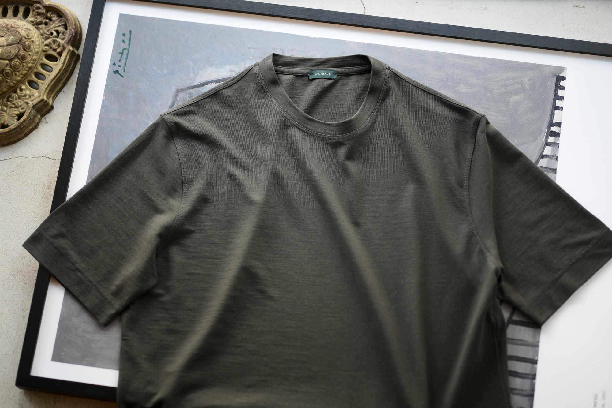 ZANONE(ザノーネ) Crew Neck T-shirt (クルーネックTシャツ) ice cotton アイスコットン Tシャツ OLIVE (オリーブ・Z0049) MADE IN ITALY(イタリア製) 2020 春夏新作 愛知 名古屋 altoediritto アルトエデリット tee 夏Tシャツ