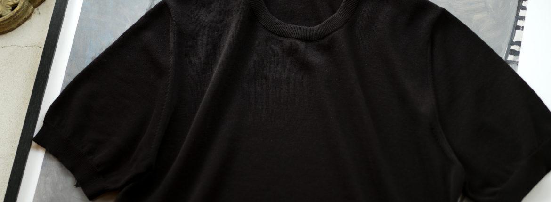 ZANONE(ザノーネ) Knit T-shirt (ニット Tシャツ) コットンニット Tシャツ BLACK (ブラック・Z3369) made in italy (イタリア製) 2020 春夏新作  【入荷しました】【フリー分発売開始】のイメージ