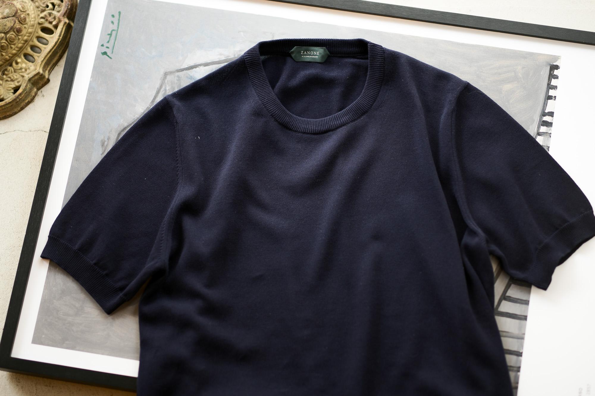 ZANONE(ザノーネ) Knit T-shirt (ニット Tシャツ) コットンニット Tシャツ NAVY (ネイビー・Z0542) made in italy (イタリア製) 2020 春夏新作 愛知 名古屋 altoediritto アルトエデリット