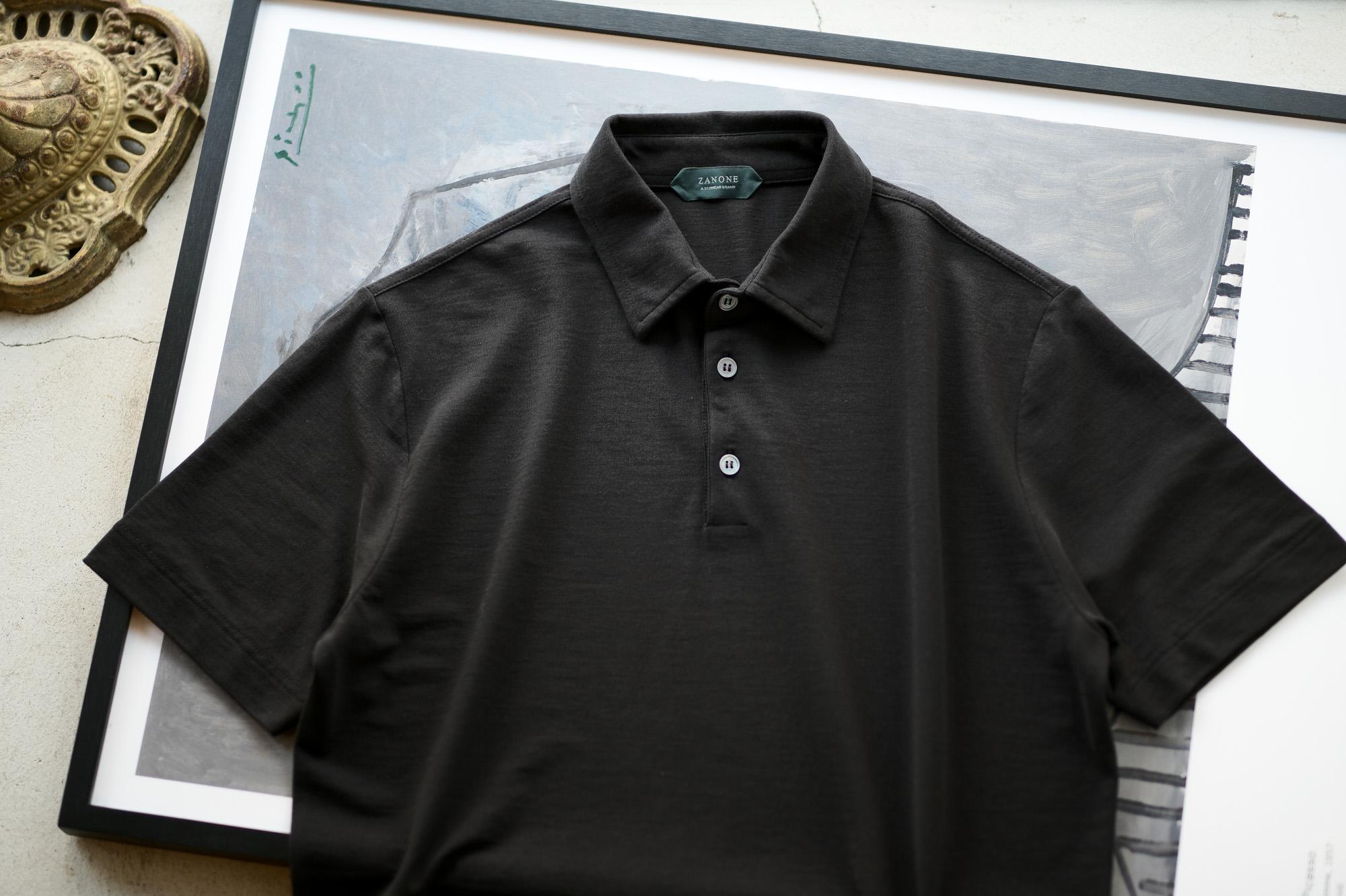 ZANONE(ザノーネ) Polo Shirt ice cotton アイスコットン ポロシャツ BLACK (ブラック・Z0015) made in italy (イタリア製) 2020春夏新作 愛知 名古屋 altoediritto アルトエデリット