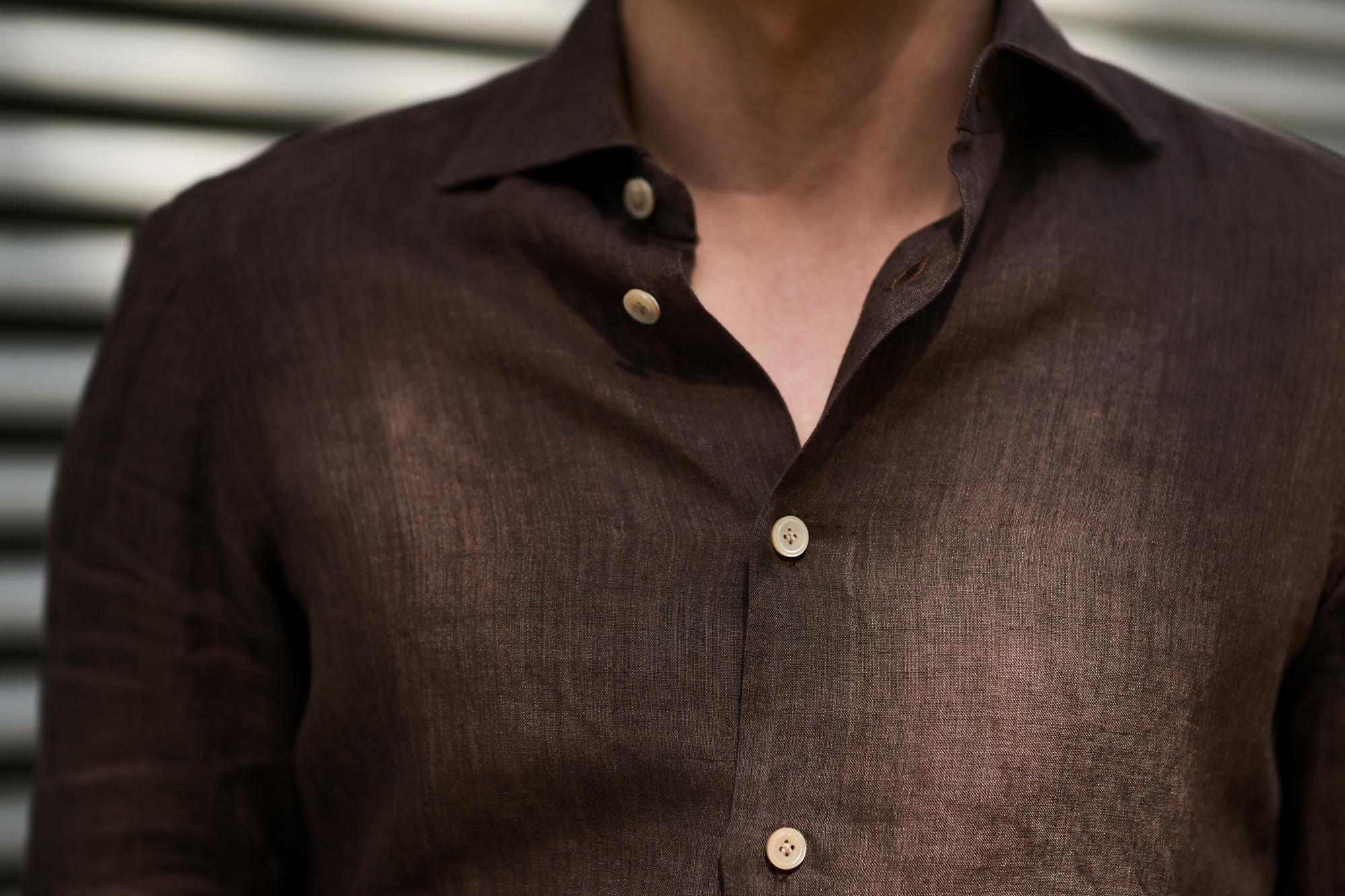 AVINO Laboratorio Napoletano(アヴィーノ・ラボラトリオ・ナポレターノ) Linen Dress Shirts (リネン ドレス シャツ) リネン100% ワイドカラー シャツ BROWN (ブラウン) made in italy (イタリア製) 2020 春夏新作 【入荷しました】【フリー分発売開始】 愛知 名古屋 altoediritto アルトエデリット リネンシャツ